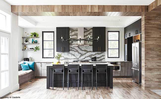 Kitchen with a dramatic backsplash