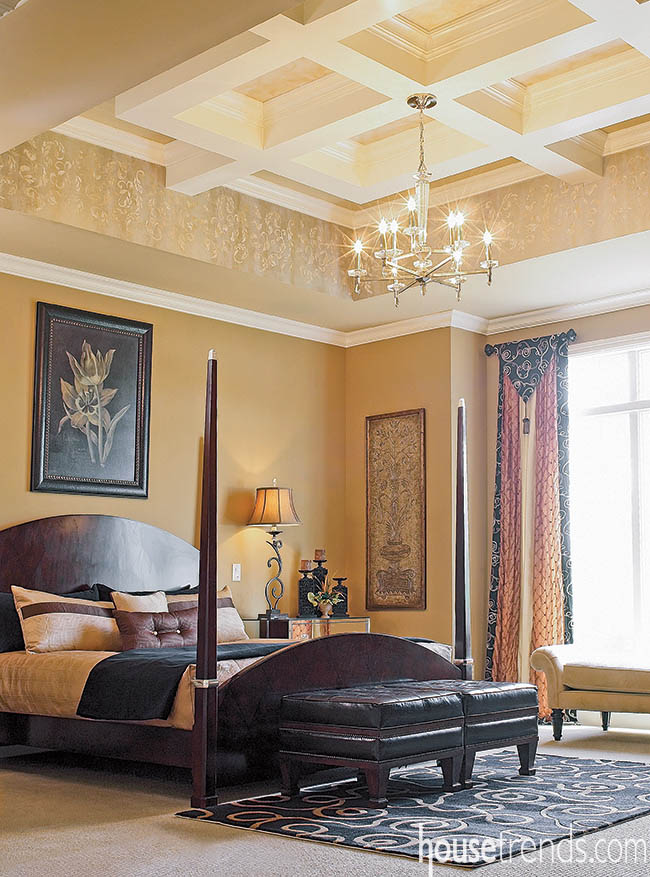 Tray ceiling steals the show in a bedroom
