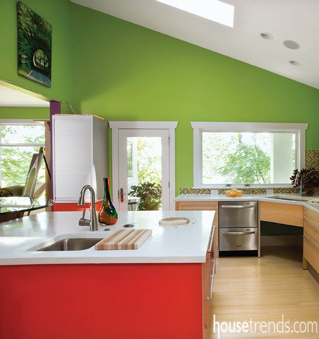 Kitchen countertops balance out a room