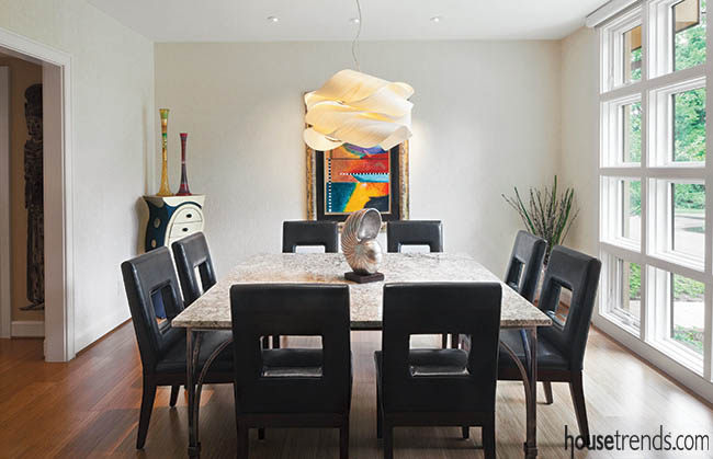 Dining room table allows conversation to flow