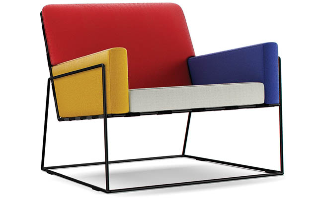 Club chair decorated in primary colors