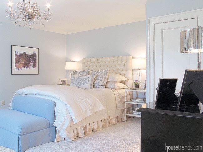 Calming colors set the tone in a bedroom design