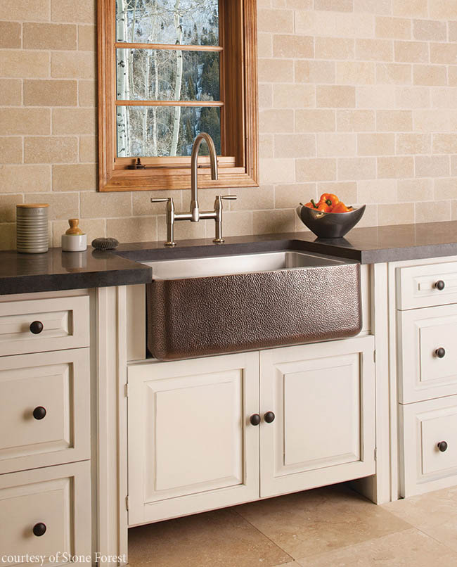 Farmhouse sink adds variety to a kitchen design