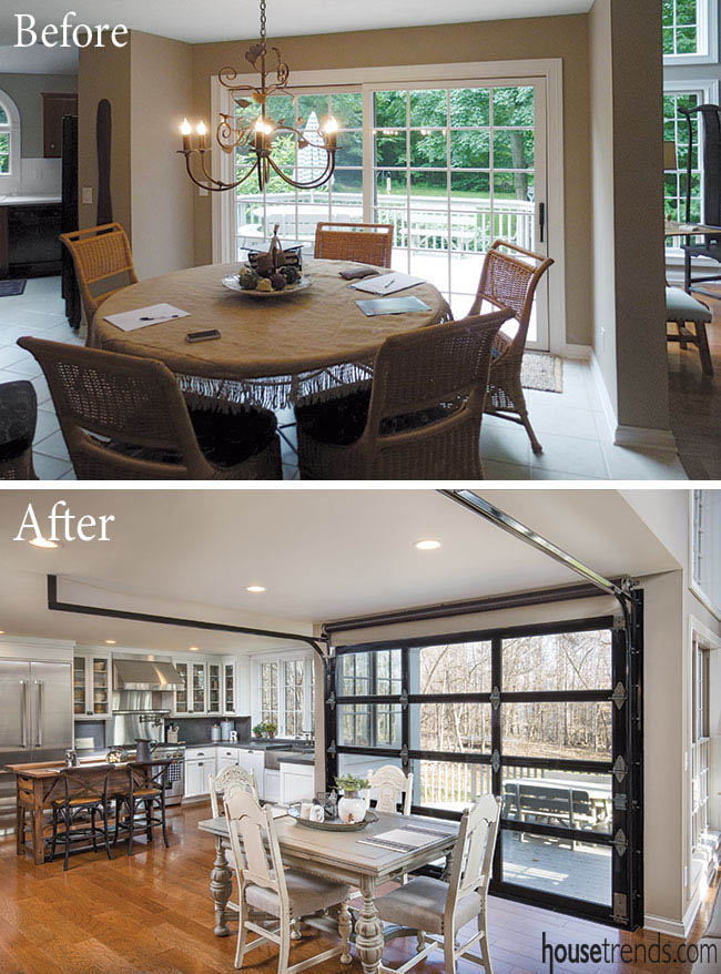 Before and after shows a drastic change in a kitchen design
