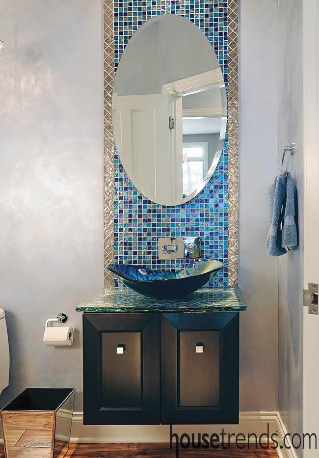 Bathroom designed around a vessel sink