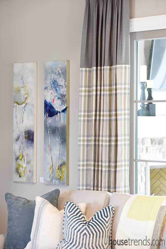 Plaid drapes in a living room