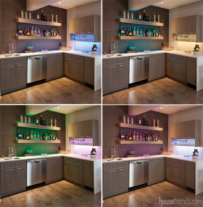 Colorful LED lighting brightens up a basement bar