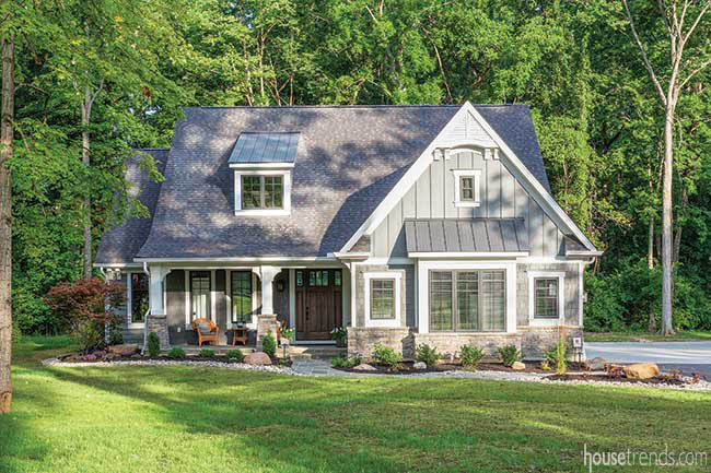 Ornamental gable in a farmhouse-style home