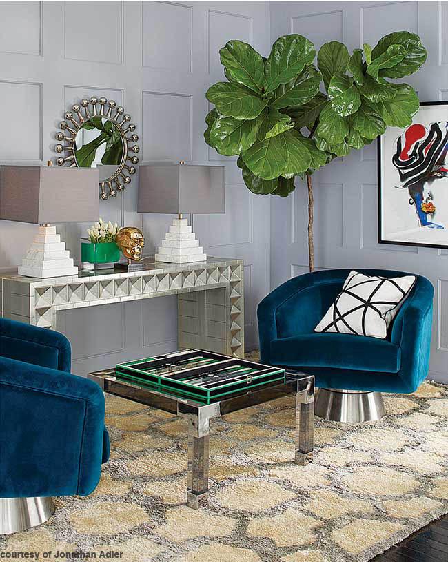 Swivel chairs covered in blue velvet