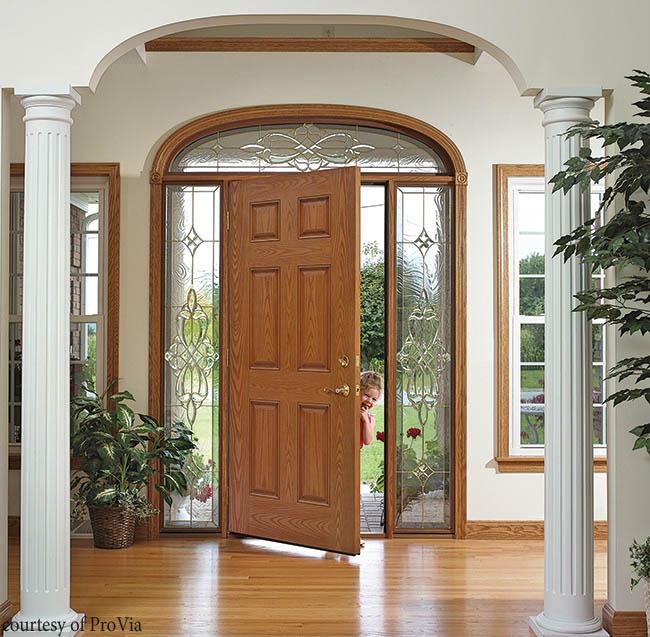 Fiberglass entry door with a classic design
