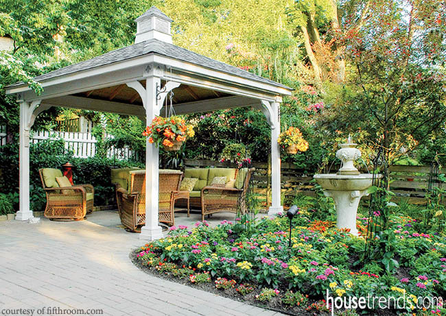 Landscaping and planters dress up a pavilion