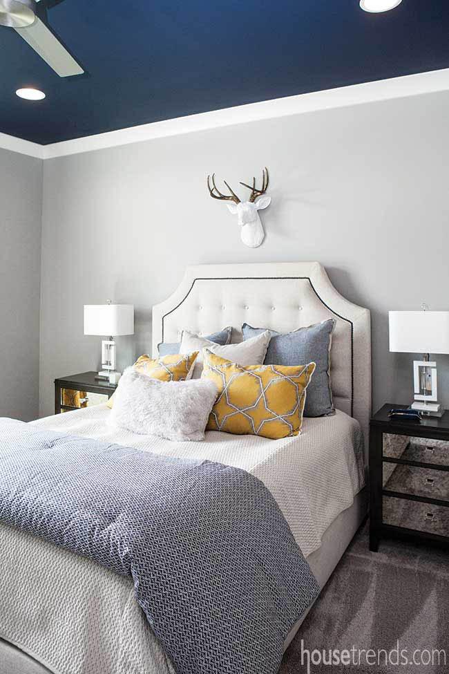 Deer antlers in a master bedroom