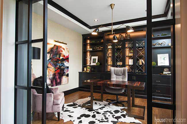 Cow print rug in a home office