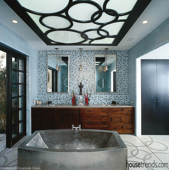 Bathroom tile creates a focal point