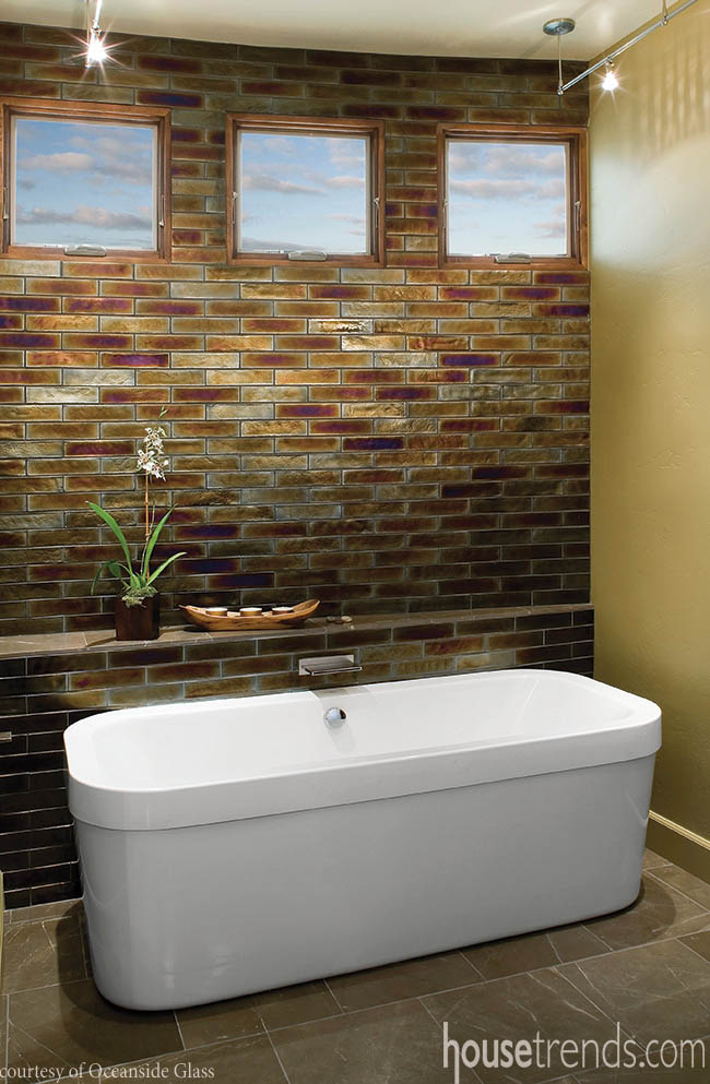Tile creates a bold look in a bathroom