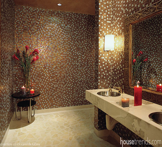 Glass tiles lend a look of sophistication