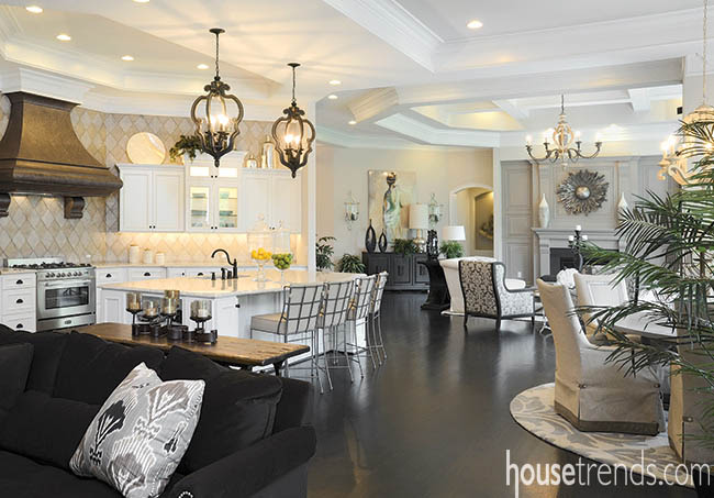 Kitchen design and living room combine for an open entertaining area
