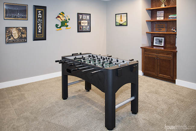 Foosball table adds energy to a basement