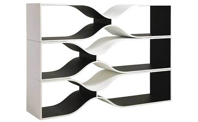 Bookshelves offer a creative storage solution