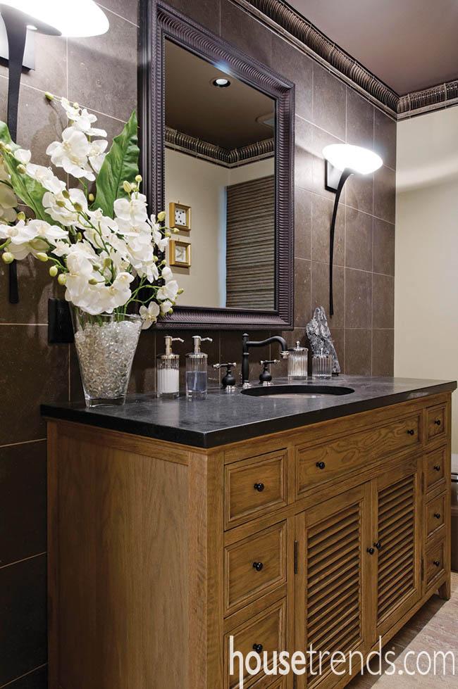 Materials mix to create a classic powder room design