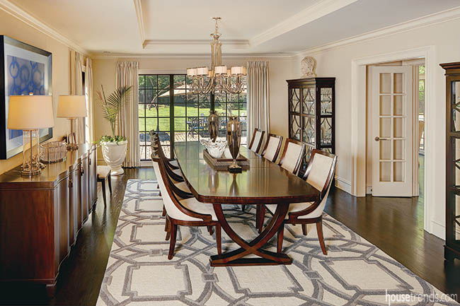 Formal dining room blends into casual dining area