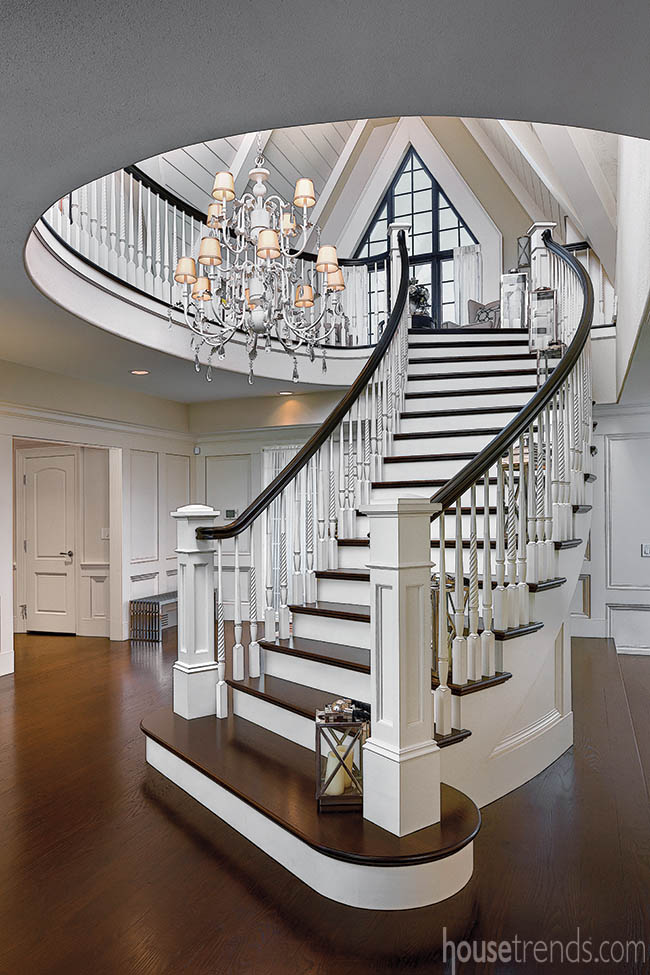 Staircase adds elegance to an entryway