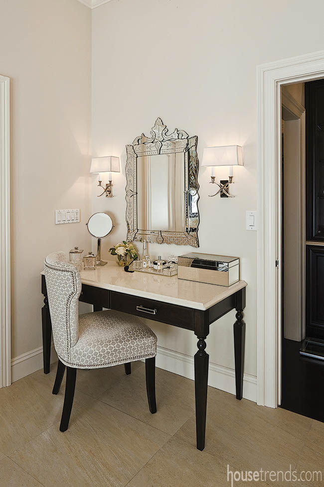 Wall sconces add to a vanity's elegance