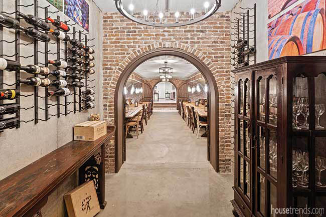 Exposed brick wall in a wine cellar
