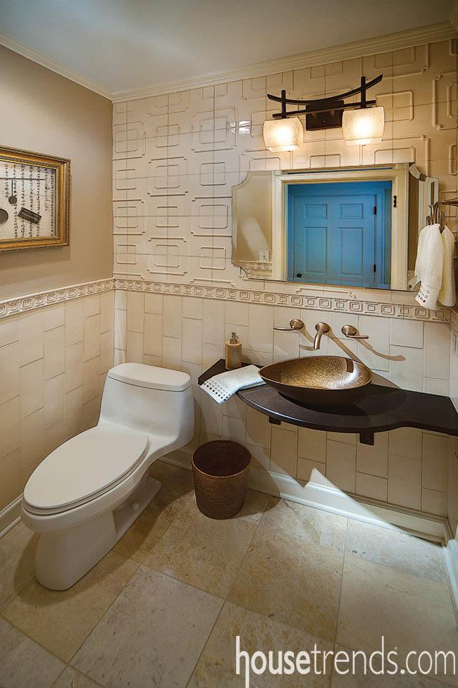 Floating vanity boasts an awe-inspiring sink