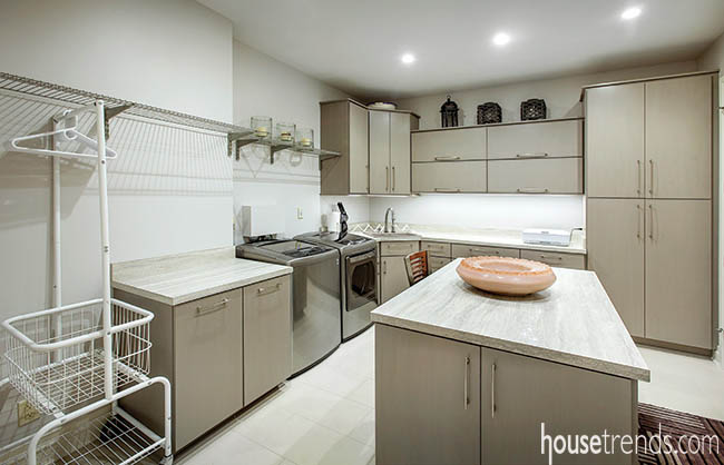 Cabinetry keeps a laundry room in order