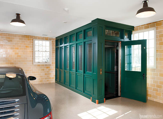 Elevator zooms through a carriage house