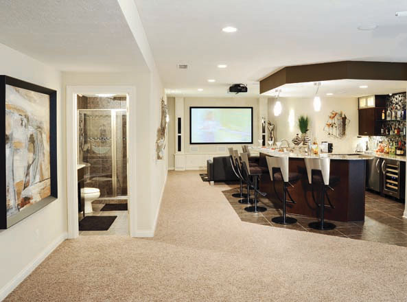 Basement designs open up multiple rooms