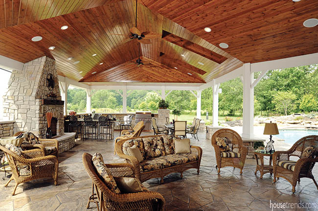 Fireplace warms up an outdoor structure