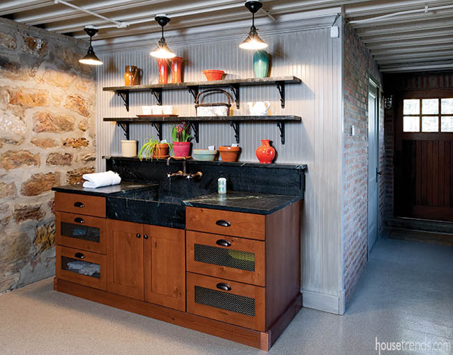 Storage area offers room for a planting space
