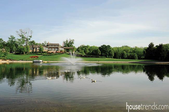 Backyard ponds provide picturesque views