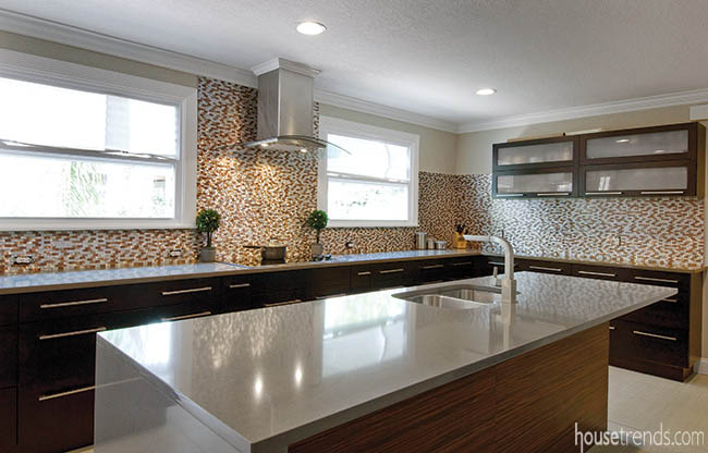 Kitchen remodel made way for a large island