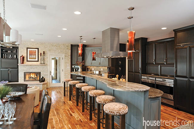 Two kitchen islands create double the workspace