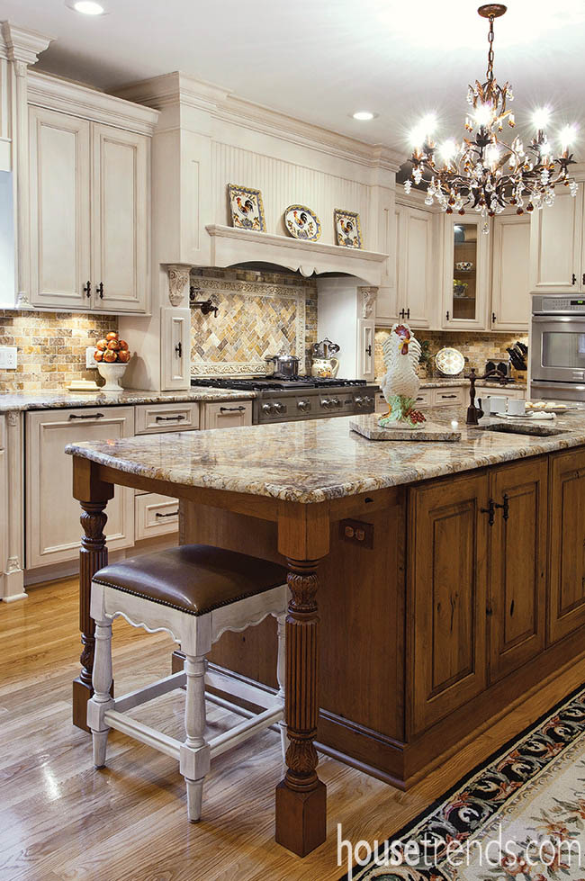 Cherry cabinetry with a distressed finish adds a touch of warmth