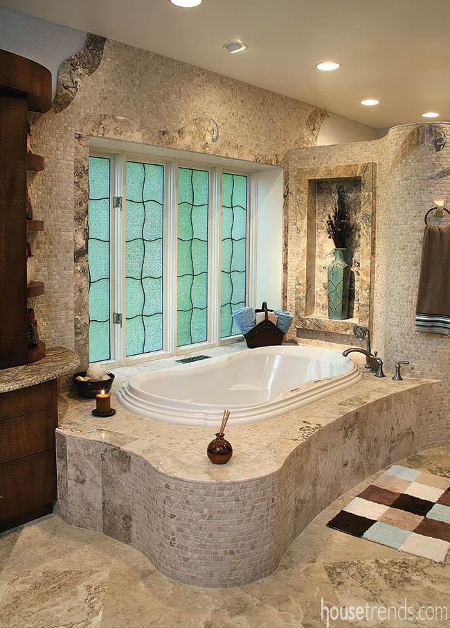 Limestone helps to establish atmosphere in a calming bathroom design