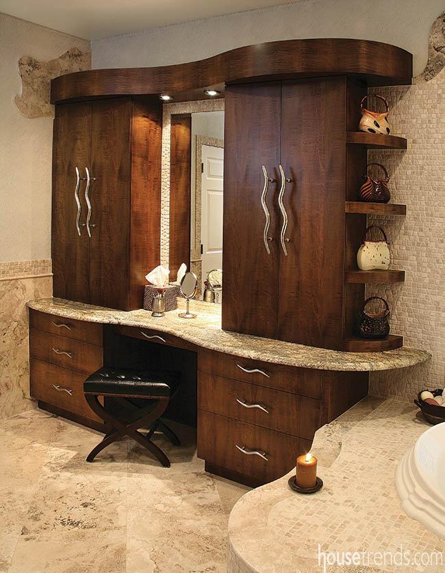 Custom vanity ideas include gorgeous maple cabinets
