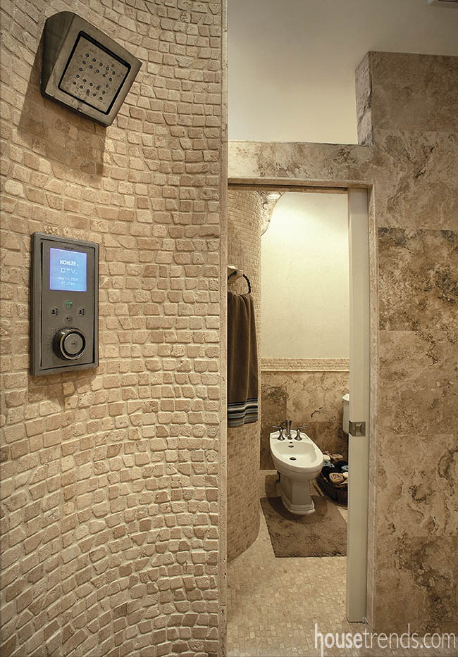 Shower design controlled with the touch of a button