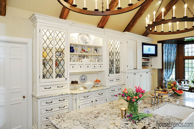 Kitchen cabinets display antique dinnerware