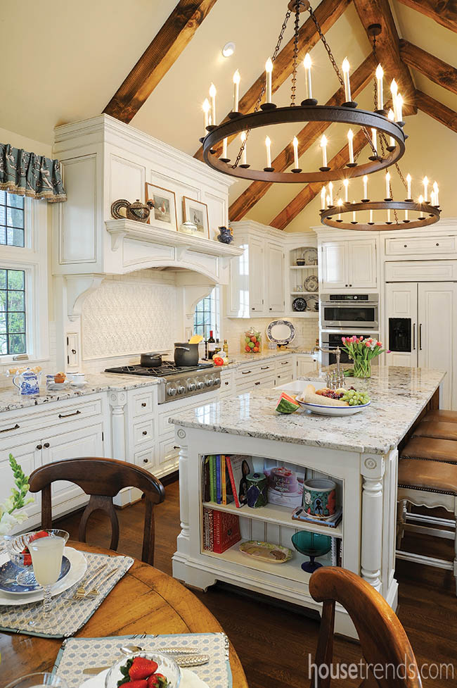 Custom chandeliers complete a kitchen remodel