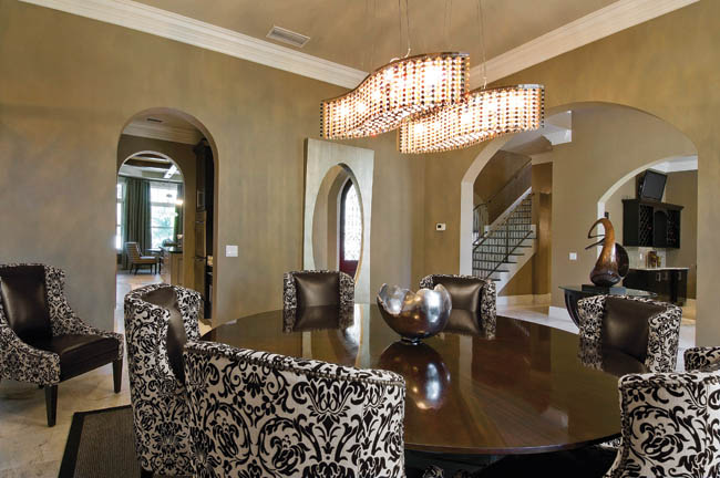 Chandeliers add elegance to this dining room