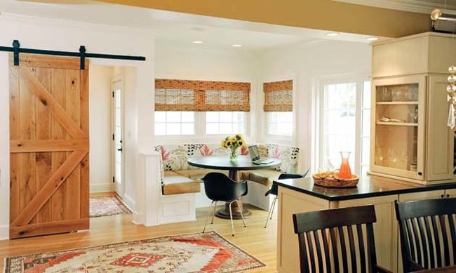 Barn door slides into kitchen design