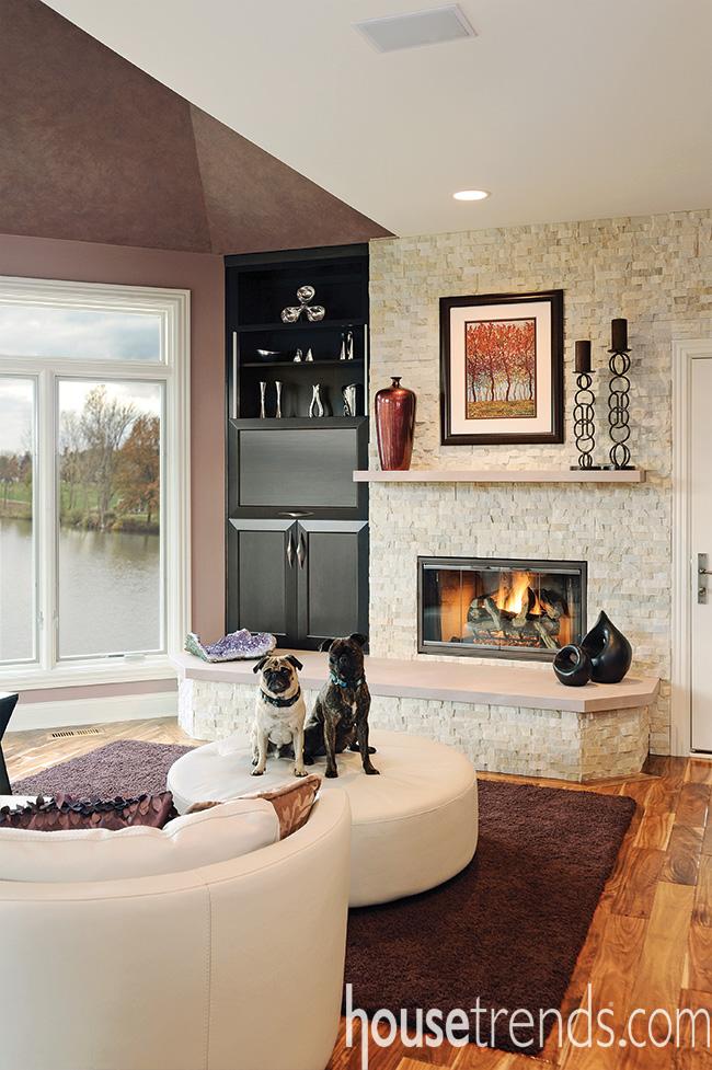 Tile completes a fireplace design