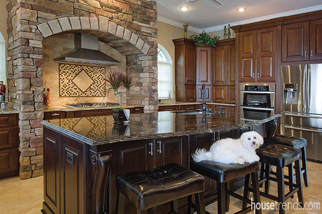 Kitchen island offers gathering and food prep space
