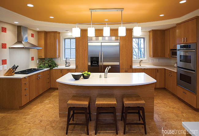 Contemporary kitchen with custom cabinets