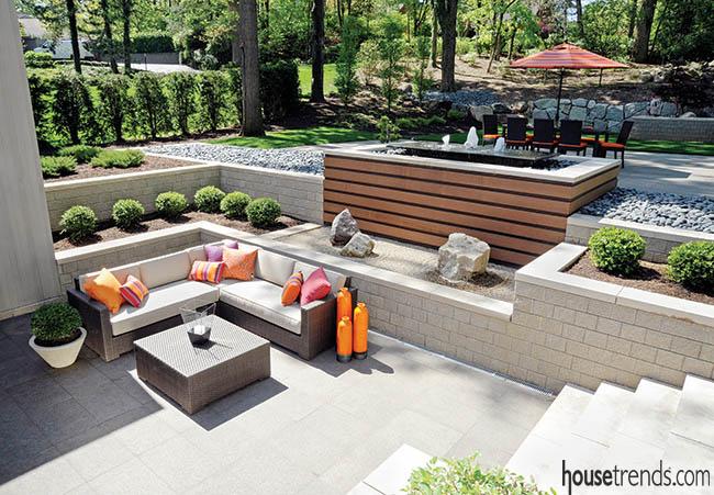 contemporary patio design nestled in nature