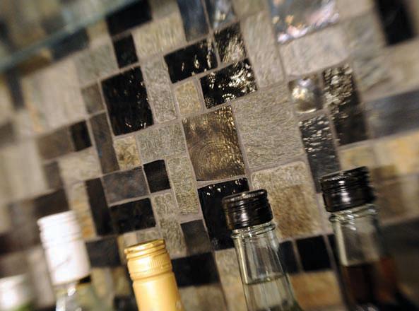 Basement bar tile is functional yet stylish